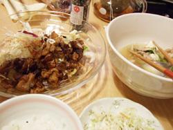 しょうが焼きと野菜スープ